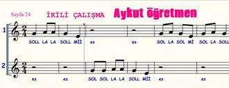 Sayfa 24 de İkili Çalışma isimli şarkı Nota Okuma Dersi Solfej Blok Flüt Piyano Kem... izle
