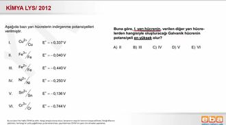 2012 LYS- Galvanik Hücre Potansiyelleri izle