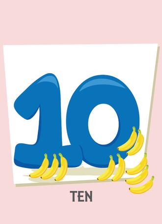 İngilizce sayılar resimlerle gösterilir.(10-Ten-On)