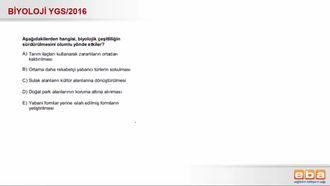 2016 YGS Biyoloji Biyolojik Çeşitlilik izle