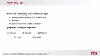 Nötr Atomlarda Elektron Dizilimi (2017 YGS-Kimya) izle