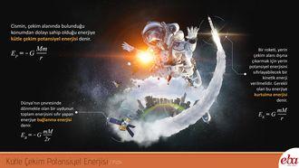 Bu infografik  Kütle çekim potansiyel enerjisini açıklar.