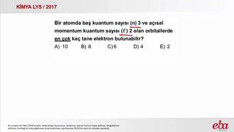 Kuantum Sayıları ( 2017 LYS- KİMYA) izle