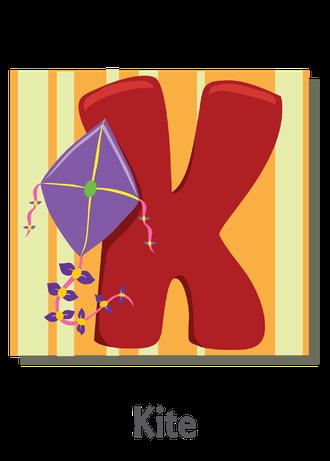 """İngilizce alfabede bir resimle """"k"""" harfini tanır.(Kite)"""