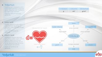 Yoğunluk kavramını ve bileşenlerini anlatan infografik çalışması.