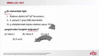 Elementlerin Periyodik Sistemdeki Konumları ( 2017 LYS- KİMYA) izle