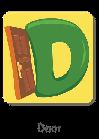 """İngilizce alfabede bir resimle """"d"""" harfini tanır.(Door)"""