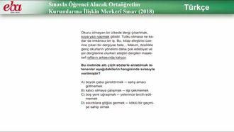Sınavla Öğrenci Alacak Ortaöğretim Kurumlarına İlişkin Merkezî Sınav/ Türkçe izle