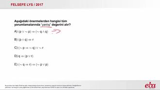 Önermeler (2017 LYS- FELSEFE) izle