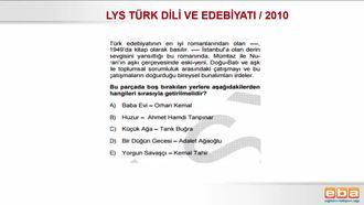 LYS 2010/ TÜRK DİLİ VE EDEBİYATI/CUMHURİYET DÖNEMİ SANATÇI VE ESERLERİ izle