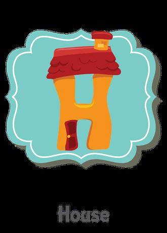 """İngilizce alfabede bir resimle """"h"""" harfini tanır.(House)"""