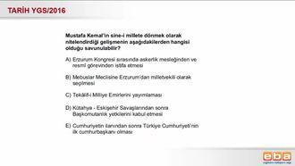 2016-YGS-Tarih- Atatürk'ün Askerlik Mesleğinden İstifa Etmesi. izle