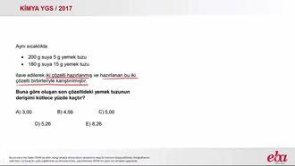 Kütlece Yüzde Derişim (2017 YGS-Kimya) izle
