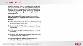 Bellek Güçlendirici Yöntemler (2017 LYS- FELSEFE) izle