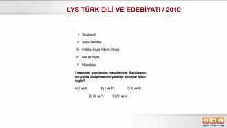 2010 LYS TÜRK DİLİ VE EDEBİYATI / TANZİMAT DÖNEMİ izle