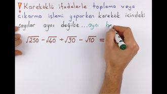 8. Sınıf Matematik Kareköklü İfadelerle Toplama-Çıkarma izle