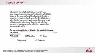 Etkileşim  Tipleri (2017 LYS- FELSEFE) izle