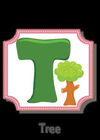 """İngilizce alfabede bir resimle """"t"""" harfini tanır.(Tree)"""