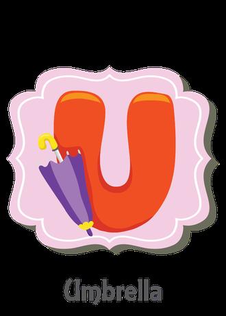 """İngilizce alfabede bir resimle """"u"""" harfini tanır.(Umbrella)"""
