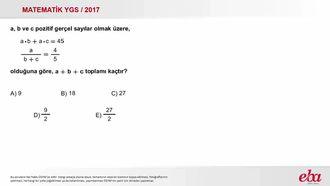 Oran Orantı( 2017 YGS - Temel Matematik) izle