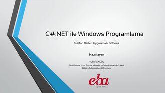 Csharp.NET ile Telefon Defteri Uygulaması-Bölüm-2 izle