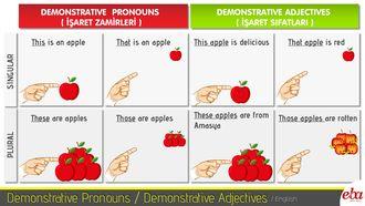Bu infografikte Demonstrative Pronouns( İşaret zamirleri) / Demonstrative Adjectives (İşaret Sıfatları) ele alınmıştır.