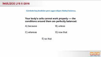 2016 Lys 5 - Boşluğa uygun düşen ifade izle