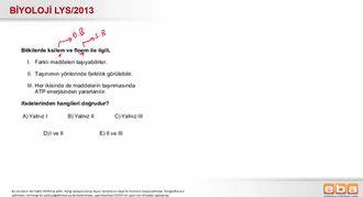 2013 LYS Biyoloji Bitkilerde İletim Demetleri izle