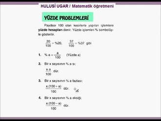 7.Sınıf Matematik / Yüzde Hesapları izle