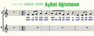 Sayfa 24 de Ağaca Övgü isimli şarkı Nota Okuma Dersi Solfej Blok Flüt izle