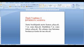 plc uygulamaları 5( zaman röleli sürekli çalışma) izle