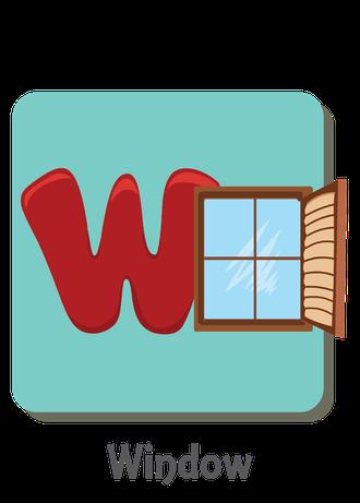 """İngilizce alfabede bir resimle """"w"""" harfini tanır.(Window)"""