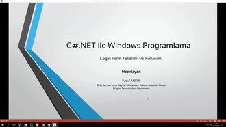 C#.NET Windows Form Uygulamaları - Kullanıcı Giriş Formu izle