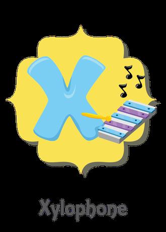 """İngilizce alfabede bir resimle """"x"""" harfini tanır.(Xylophone)"""