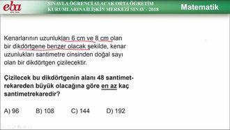 Sınavla Öğrenci Alacak Ortaöğretim Kurumlarına İlişkin Merkezî Sınav-2018/ Matem... izle