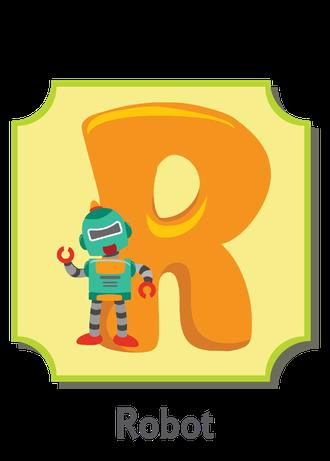 """İngilizce alfabede bir resimle """"r"""" harfini tanır.(Robot)"""