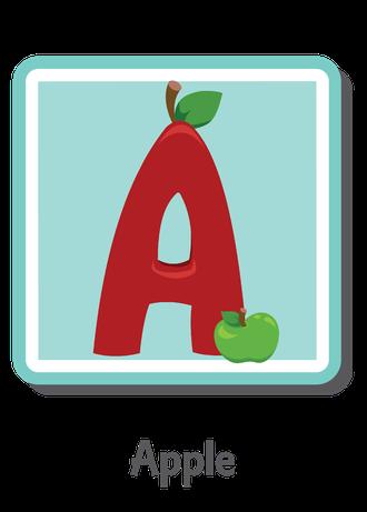 """İngilizce alfabede bir resimle """"a"""" harfini tanır.(Apple)"""