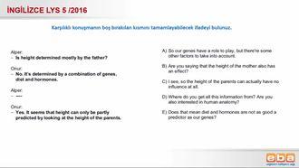 2016 Lys 5 - Karşılıklı Konuşma izle