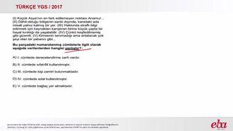 Türkçe Paragrafta Sözcük Türleri Bulma (2017 YGS-Türkçe) izle