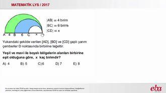 Dairenin Alanı  (2017 LYS - Matematik ) izle