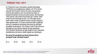Parçayı Paragraflara Ayırma (2017 YGS-Türkçe) izle