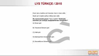 LYS 2015 DİVAN VE TANZİMAT ŞİİRİ KARŞILAŞTIRMASI izle