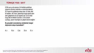 Paragrafta Düşünce Akışı (2017 YGS-Türkçe) izle
