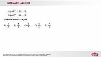 Logaritma (2017 LYS-MATEMATİK) izle