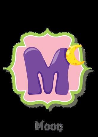 """İngilizce alfabede bir resimle """"m"""" harfini tanır.(Moon)"""