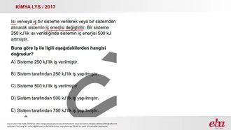İç Enerji Değişimi ( 2017 LYS- KİMYA) izle