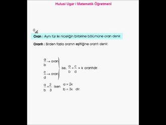 7.Sınıf Matematik / Oran ve Orantı /Hulusi Ugar izle
