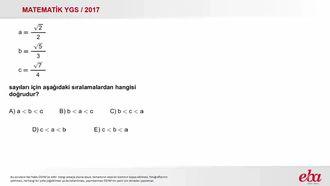 Sıralama( 2017 YGS - Temel Matematik) izle