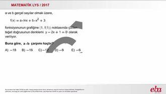Teğetin Denklemi (2017 LYS-MATEMATİK) izle