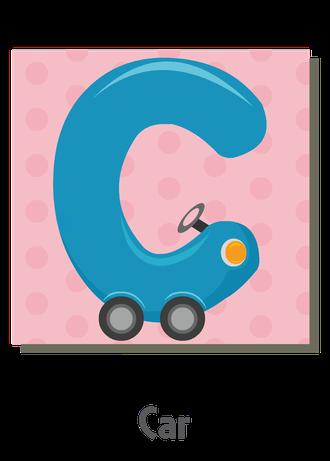 """İngilizce alfabede bir resimle """"c"""" harfini tanır.(Car)"""